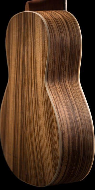 Ohana ukuleles spruce and zebrawood tenor back zoom TK 22Z