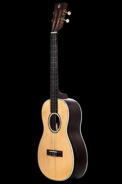 Ohana ukuleles solid spruce laminate rosewood baritone front BK 70