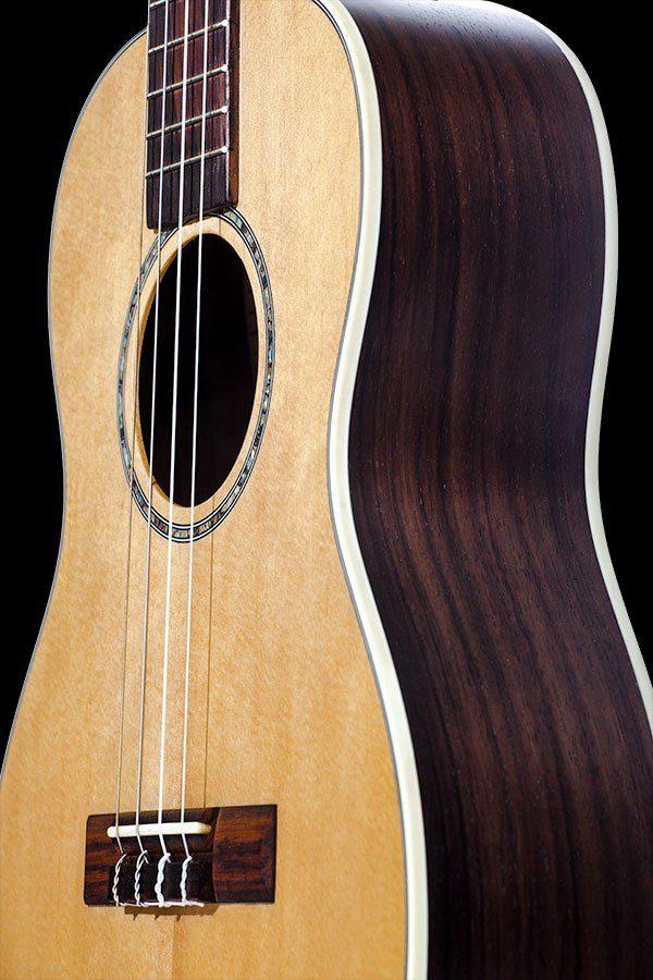 Ohana ukuleles solid spruce laminate rosewood baritone front details BK 70