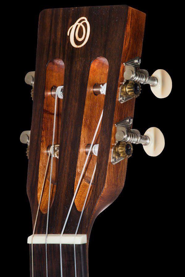 Ohana ukuleles solid spruce laminate rosewood baritone headstock front BK 70