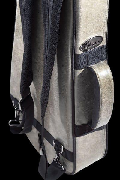 ohana ukuleles 2 tone leather deluxe soft case back details