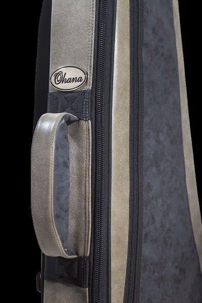 ohana ukuleles 2 tone leather deluxe soft case front details