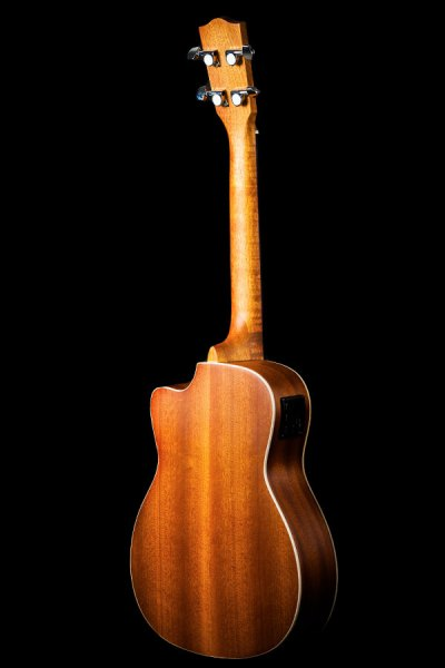 Ohana ukuleles solid top mahogany cut away EQ baritone back BK 20CE