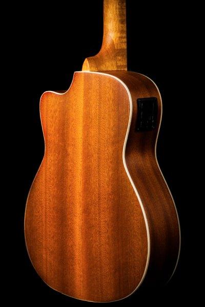 Ohana ukuleles solid top mahogany cut away EQ baritone back zoom BK 20CE