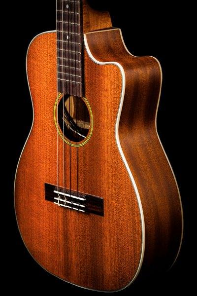 Ohana ukuleles solid top mahogany cut away EQ baritone front zoom BK 20CE