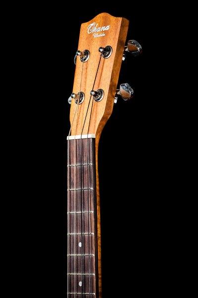 Ohana ukuleles solid top mahogany cut away EQ baritone headstock front BK 20CE