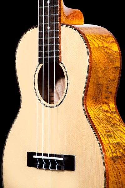 ohana solid spruce top and willow back and sides tenor ukulele TK 70WG front details