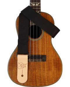 solid black uke strap
