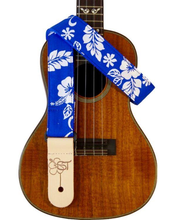 blue hibiscus uke strap