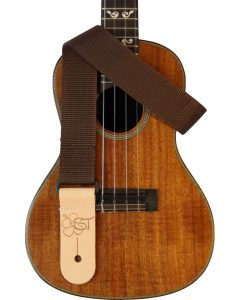 solid brown uke strap