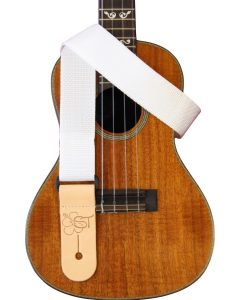 solid white uke strap