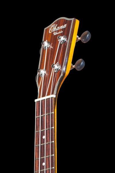 Ohana all solid mahogany concert electric ukulele CK 35GCE headstock front