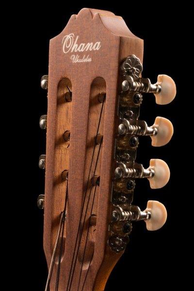 Ohana ukuleles spruce and mahogany 8 string tenor headstock front TK 70 8