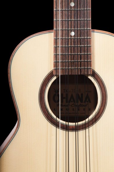 ohana all solid 8 string tenor solid spruce and mahogany TK 70 8 2019 front details