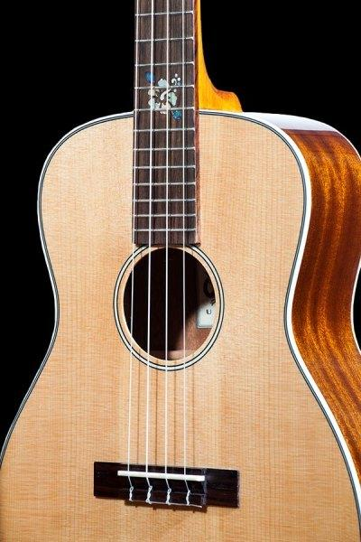 Ohana solid Spruce and Mahogany tenor scale baritone BKT 70G front