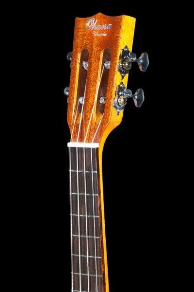 Ohana solid Spruce and Mahogany tenor scale baritone BKT 70G headstock