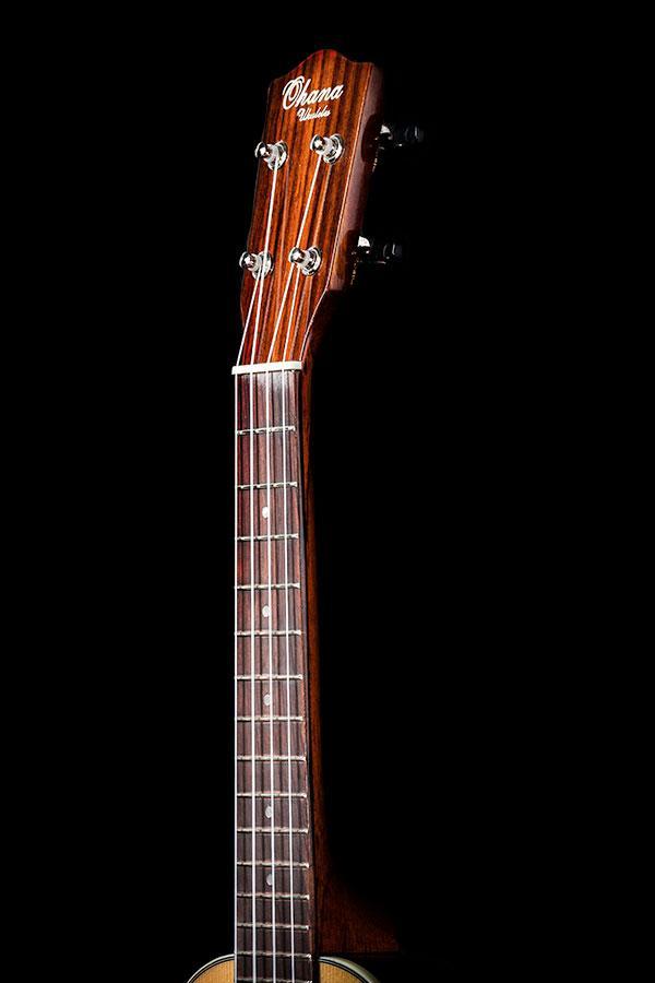 Ohana ukuleles spruce round back concert front headstock CK